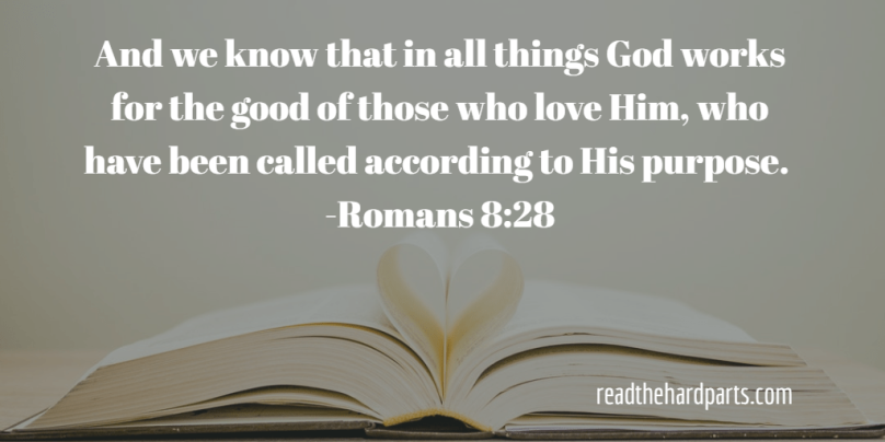picture of open Bible with Romans 8:28