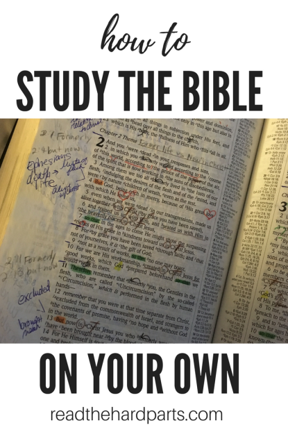 picture of Bible pages that are heavily marked up from doing Bible study